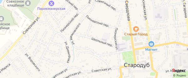 Школьный переулок на карте Стародуб с номерами домов