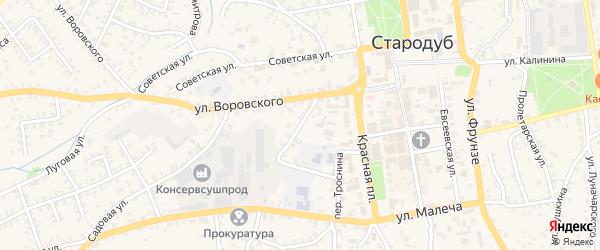 Коммунальный переулок на карте Стародуб с номерами домов