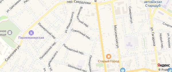 Совхозный переулок на карте Стародуб с номерами домов