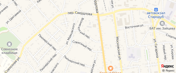 Вознесенский переулок на карте Стародуб с номерами домов