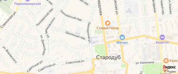 Пионерская улица на карте Стародуб с номерами домов