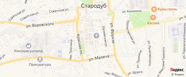 Первомайская улица на карте Стародуб с номерами домов
