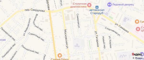 Московский переулок на карте Стародуб с номерами домов