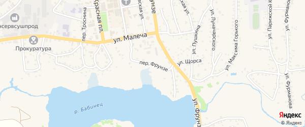 Переулок Фрунзе на карте Стародуб с номерами домов