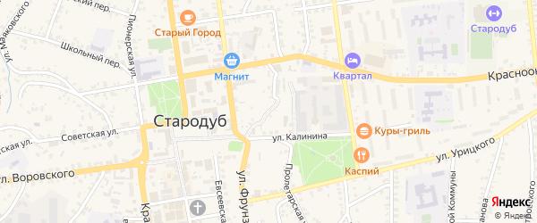 Пожарный переулок на карте Стародуб с номерами домов