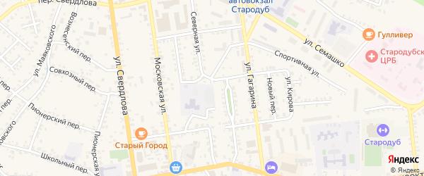 Красноармейский переулок на карте Стародуб с номерами домов