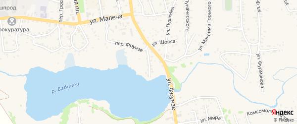 Набережный переулок на карте Стародуб с номерами домов
