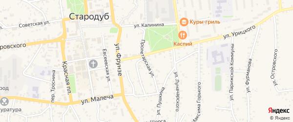 Пролетарская улица на карте Стародуб с номерами домов