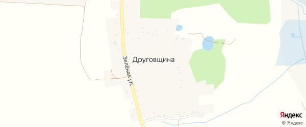 Зеленая улица на карте хутора Друговщина с номерами домов