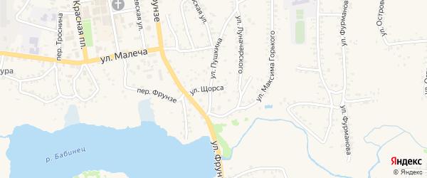 Улица Щорса на карте Стародуб с номерами домов
