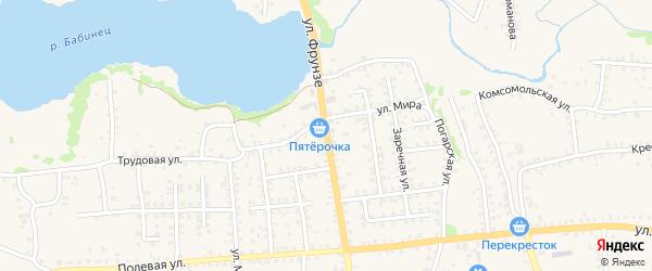 Улица Фрунзе на карте Стародуб с номерами домов