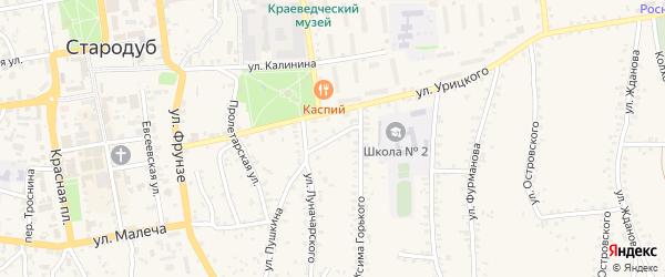 Переулок Горького на карте Стародуб с номерами домов