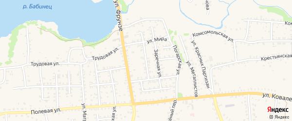 Юбилейный проезд на карте Стародуб с номерами домов