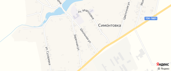 Школьная улица на карте села Симонтовки с номерами домов