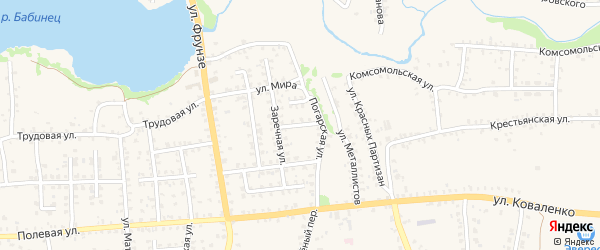 Заречный проезд на карте Стародуб с номерами домов