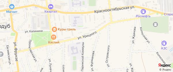 Улица Урицкого на карте Стародуб с номерами домов