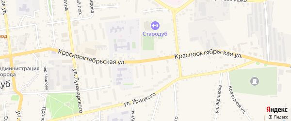 Краснооктябрьская улица на карте Стародуб с номерами домов