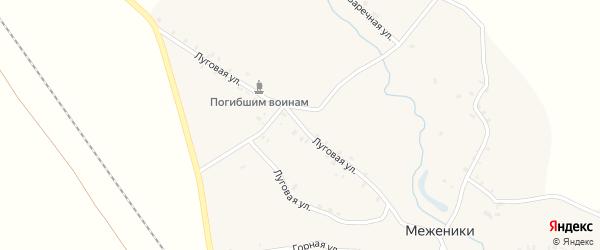 Луговая улица на карте деревни Меженики с номерами домов