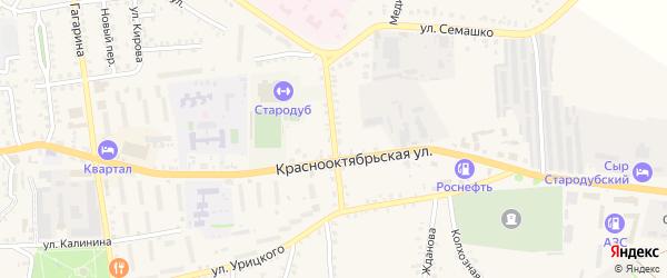 Больничный переулок на карте Стародуб с номерами домов