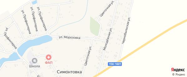 Цветочная улица на карте села Симонтовки с номерами домов