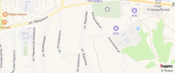 Улица Жданова на карте Стародуб с номерами домов