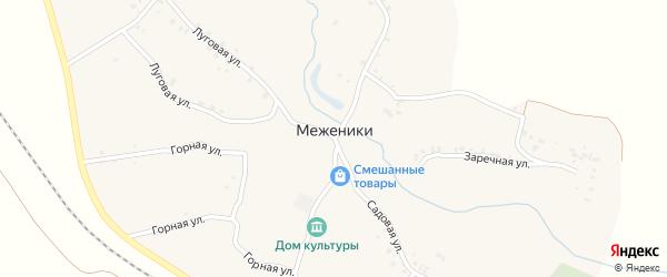 Горная улица на карте деревни Меженики с номерами домов