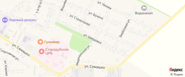 Улица Шведовка на карте Стародуб с номерами домов