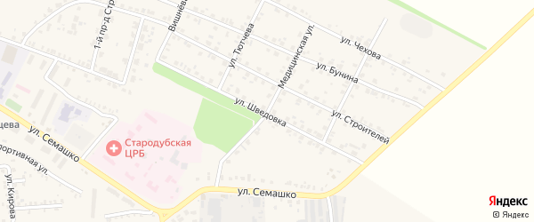 Медицинская улица на карте Стародуб с номерами домов