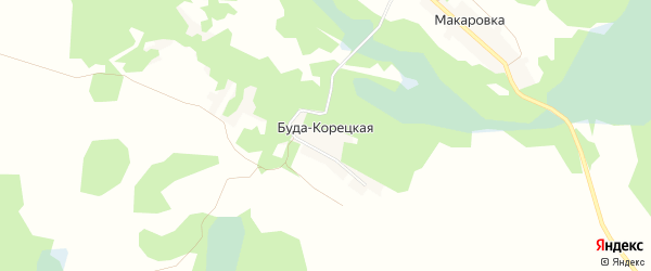 Карта Буды-Корецкой деревни в Брянской области с улицами и номерами домов