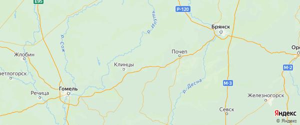 Карта Унечского района Брянской области с городами и населенными пунктами