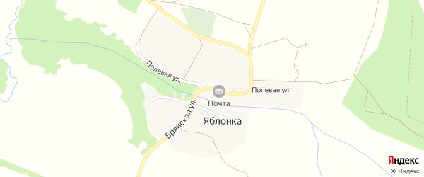 Полевая улица на карте деревни Яблонки с номерами домов