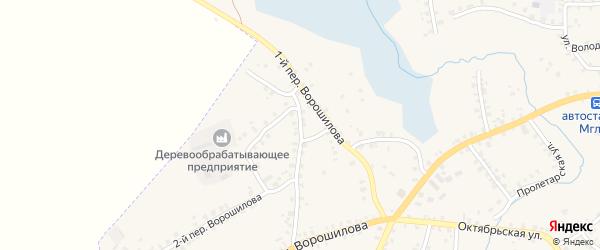 Переулок 1-й Ворошилова на карте Мглина с номерами домов