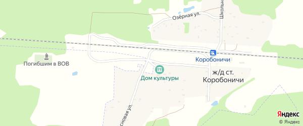 Сосновый переулок на карте железнодорожного разъезда Коробоничей с номерами домов