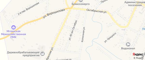 Улица 40 лет Октября на карте Мглина с номерами домов