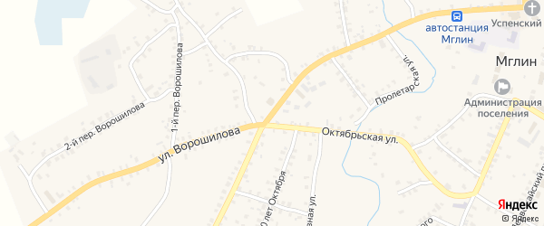 Улица Ворошилова на карте Мглина с номерами домов