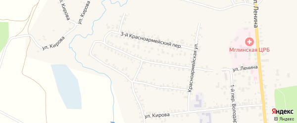 2-й Красноармейский переулок на карте Мглина с номерами домов