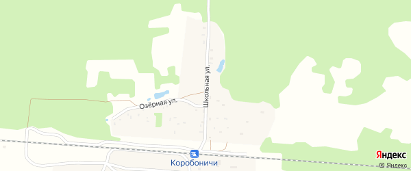 Школьная улица на карте железнодорожного разъезда Коробоничей с номерами домов