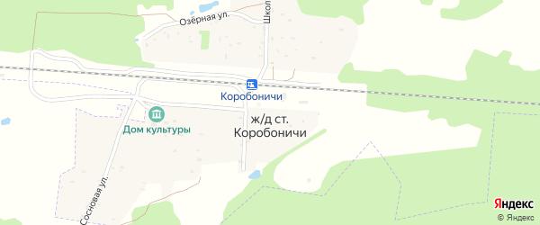 Сосновая улица на карте железнодорожного разъезда Коробоничей с номерами домов