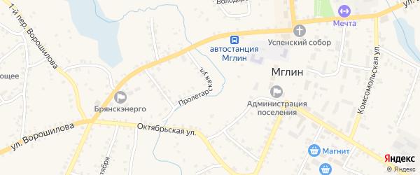 Пролетарская улица на карте Мглина с номерами домов
