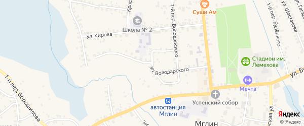 Улица Володарского на карте Мглина с номерами домов