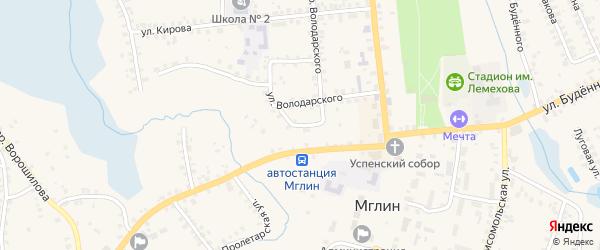 Переулок 2-й Володарского на карте Мглина с номерами домов