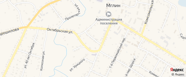1-й Октябрьский переулок на карте Мглина с номерами домов