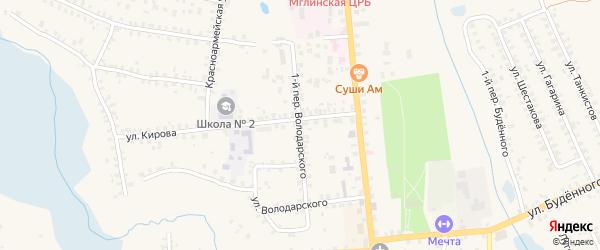 Переулок 1-й Володарского на карте Мглина с номерами домов