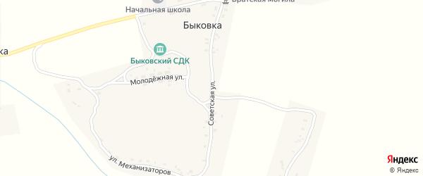 Советская улица на карте деревни Быковки с номерами домов