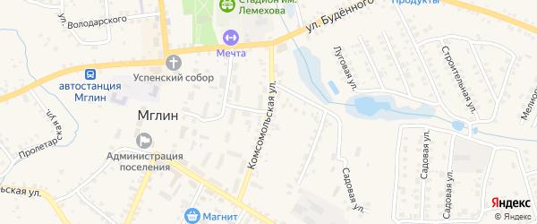 Комсомольская улица на карте Мглина с номерами домов