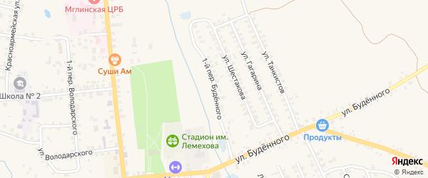 Переулок 1-й Буденного на карте Мглина с номерами домов