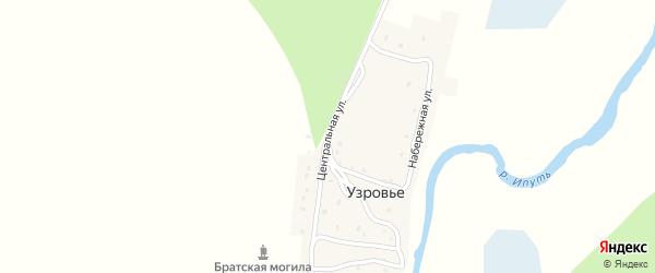 Центральная улица на карте поселка Узровья с номерами домов
