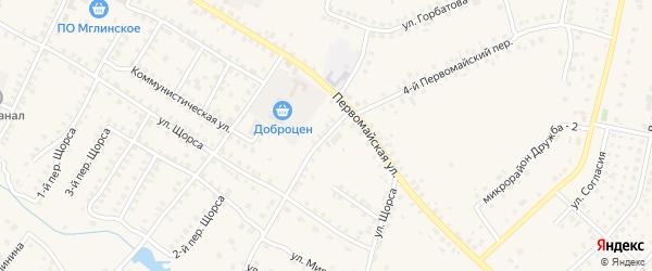 3-й Первомайский на карте Мглина с номерами домов