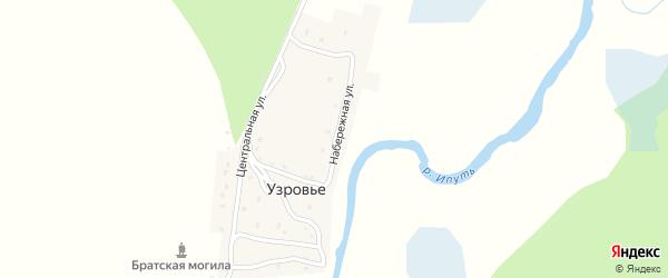 Набережная улица на карте поселка Узровья с номерами домов