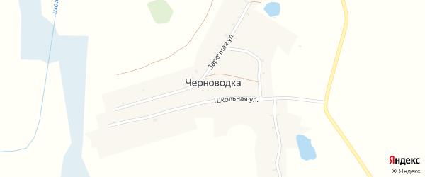 Школьная улица на карте деревни Черноводки с номерами домов